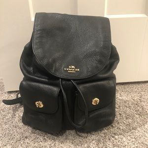 Coach black leather backpack- includes dust bag